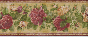 Golden and Red Roses with Greenery Wallpaper Border  KB47619B