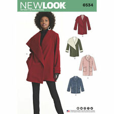 New Look 6534 Paper Sewing Pattern Misses' 6-18 Asymmetrical Collar Coats