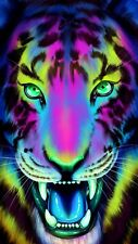 Abstract Tiger - Colourful Animal Paint Wall Art Large Poster & Canvas Pictures