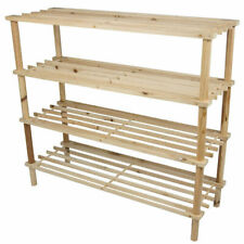 3 / 4 Tier Wooden Shoe Rack Storage Slatted Stand Organiser Vertical Shelf Unit