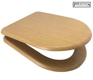 Oak Effect MDF Wooden D Shape Toilet Seat - Soft Close - Top Fix - Quick Release