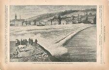 La marée Barre de la Seine Le Havre GRAVURE ANTIQUE OLD PRINT 1874