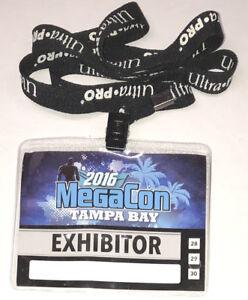 2016 Mega Con Comic Convention Tampa Bay ~ Exhibitor Badge / Pass w/ Lanyard