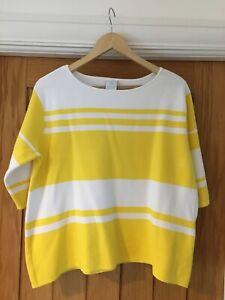 Madeleine Size 14 16 Boxy Jumper White Yellow