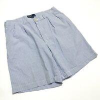 Polo Ralph Lauren Mens 35 x 12 Seersucker Shorts Pleated Cotton Blue White