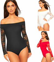 Womens Off Shoulder Bardot Lace Long Sleeve Stretch Bodysuit Leotard Party Top