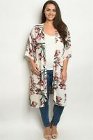 Womens Plus Size Ivory Floral Long Cardigan 1XL Pockets Open Front