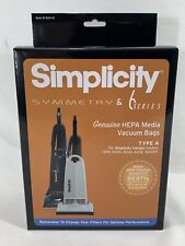 Simplicity Symmetry & 6 Series SAH-6 HEPA Media Vacuum Bags TYPE A Box of 6