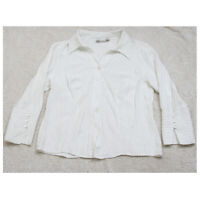 Dressbarn White Black Dress Shirt Button Up Acetate Rayon Medium 3/4 Sleeve WS64