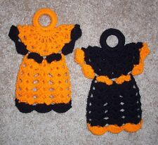 PAIR OF ANGEL POTHOLDERS/WALLHANGINGS, Crochet, HALLOWEEN COLORS, New, HANDMADE
