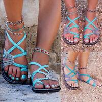 Summer Bohemia Flat Flip Flops Sandals Women Slippers Low Heel Bandages Shoes