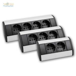 Steckdosenblock schwarz/silber Aluminium Aufbau-Eck-Steckdose für die Ecke, 230V