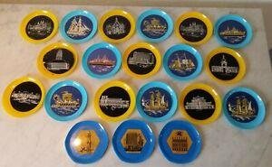 20 Untersetzer mit Schiffen und Bauwerken 50er Jahre Plastik gelb blau