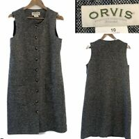 ORVIS Tweed Size 14 Classic Blue Grey 100% WOOL Button Through Midi Dress Lined