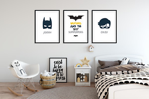 Personalised Brother BATMAN PICTURES for Boys Bedroom A4 Prints Set of 3 + Names