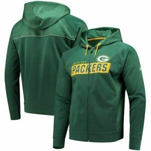 NFL Green Bay Packers Majestic Men Game Elite Full Zip Hoodie L RT$75 NWT E15-16