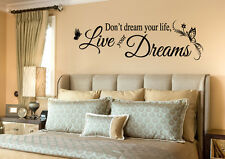 DON'T DREAM YOUR LIFE LIVE YOUR DREAMS Wall Decal Quote Words Lettering Decor