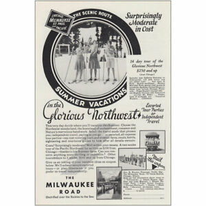 1930 Milwaukee Road: Summer Vacations in Glorious Northwest Vintage Print Ad