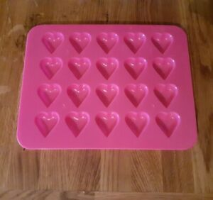 Plastic heart shape pink mould decorating chocolate ice cubes baking tray kids