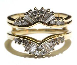 14k yellow gold .68ct VS G diamond bridal jacket 5.8g estate wedding band 6.5