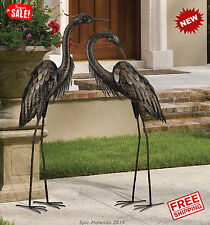 Couple Sculpture Bronze Heron Crane Bird Statues Metal Garden Yard Patio 44""