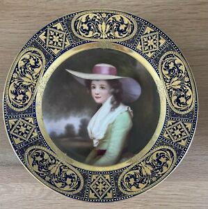 Stunning Jewelled Hand Painted Portrait Royal Vienna Porcelain Cabinet Plate