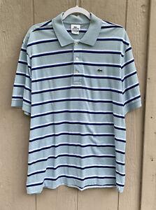 Lacoste Men's Blue White Striped 100 Cotton Short Sleeve Polo Shirt Size XL 6