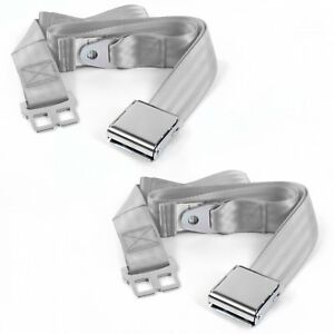 Desoto 1929 - 1945 Airplane 2pt Gray/Grey Lap Bucket Seat Belt Kit - 2 Belts