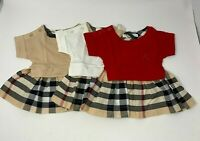 NWT NEW baby toddler girl  one piece red, ivory beige dress house check