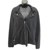 Christopher & Banks Knit Zip Front Jacket Sz L Black White Dot Collar V NWT $65