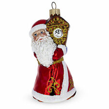 Santa with Clock Glass Glass Christmas Ornament