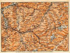 Carta geografica antica SVIZZERA Coira Samaden Old Map Switzerland Suisse 1905