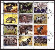 Zebra Wild Animals M/S of 12 stamps