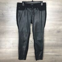 Bebe Women's Size 29 Slim Skinny Faux Leather Panel Pants Black Stretch