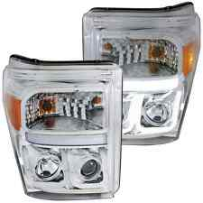 ANZO 111291 Set of 2 Chrome U-Bar Style Projector Headlights for Ford Super Duty