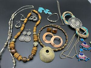 Boho Tribal Jewelry Necklaces Bracelets Earrings Wood Beaded 15 pieces