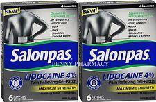 SALONPAS LIDOCAINE 4% Pain Relieving Gel Patch 6ct ( 2 boxes ) PHARMACY FRESH!