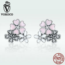 Voroco High Quality 925 Sterling Silver Stud Earrings Daisy Cherry Women Jewelry