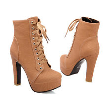 New Womens Ankle Boots Block High Heels Lace up Platform Plus Size Court Shoes