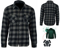 Motorcycle Cotton Flannel Shirt LINED with DuPont™ KEVLAR® CE armour DARK GREY