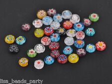 50pcs 8mm Millefiori Glass Rondelle Charms Lampwork Loose Beads Mixed Findings