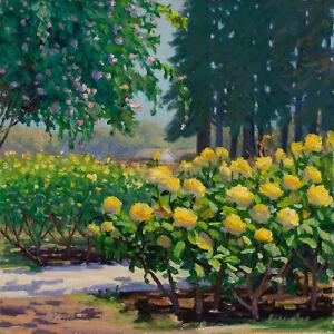 "Original oil painting impressionism landscape rose garden 12x12"" Y Wang Fine Art"