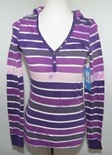 NWT Roxy Long Sleeve Hooded Pullover T Shirt Purple Gray White Striped  Womens S