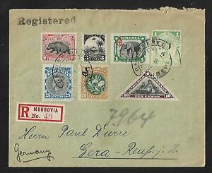 LIBERIA  TO GERMANY MULTIFRANKED COVER 1912 RARE