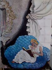 COMPOSITION DE LEPAPE LA FEMME QUI LIT / M. LYDIS TOILETTE DU SOIR 20 EME