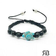 Turtle Bracelet Wooden Beads Black Turquoise Turtle Adjustable Bracelet  Unisex