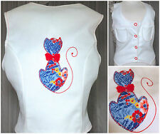 70s Cat Patch Kitsch Ribbed White Vest Crop Top