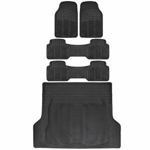 Van SUV Rubber Floor Mats 3 Row w/ Cargo Mat All Weather Trimmable Black