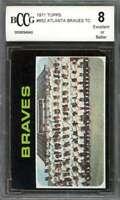 Atlanta Braves Tc Team Card 1971 Topps #652 (W/Hank Aaron) BGS BCCG 8