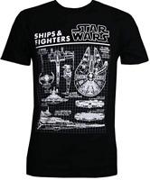 Star Wars Men's Black Ships & Fighters Short Sleeve Graphic T-Shirt